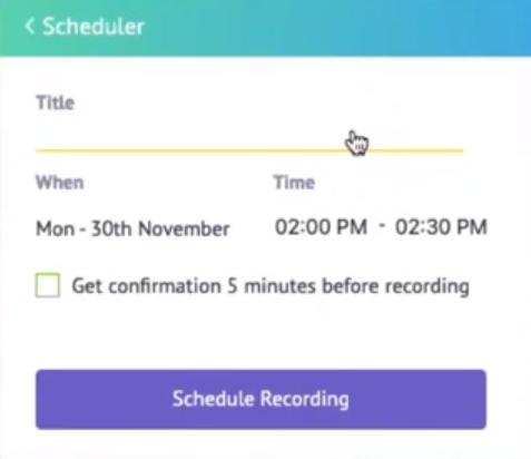 Vmaker scheduled recording