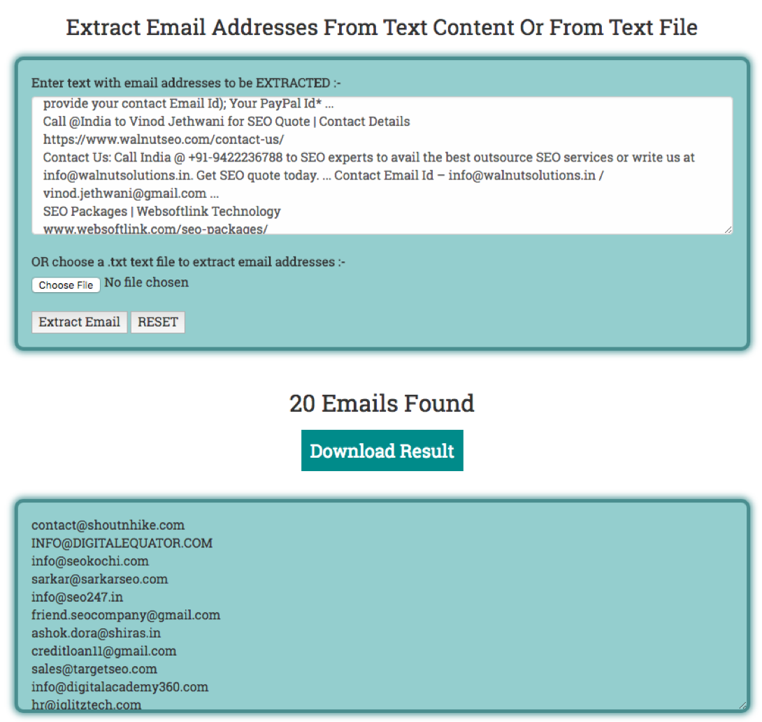 Extracting email addresses from text