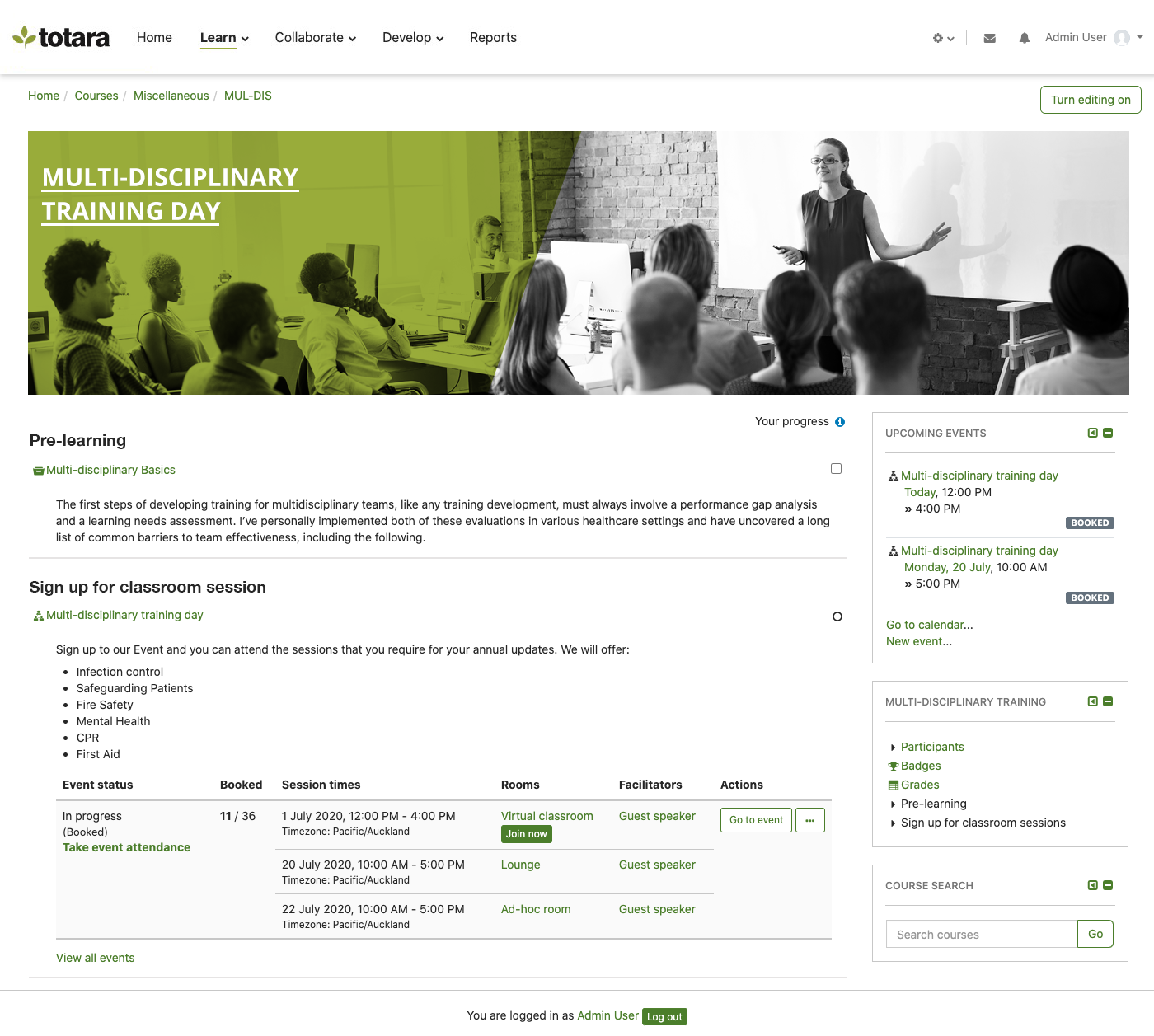 example course page in Totara Learn
