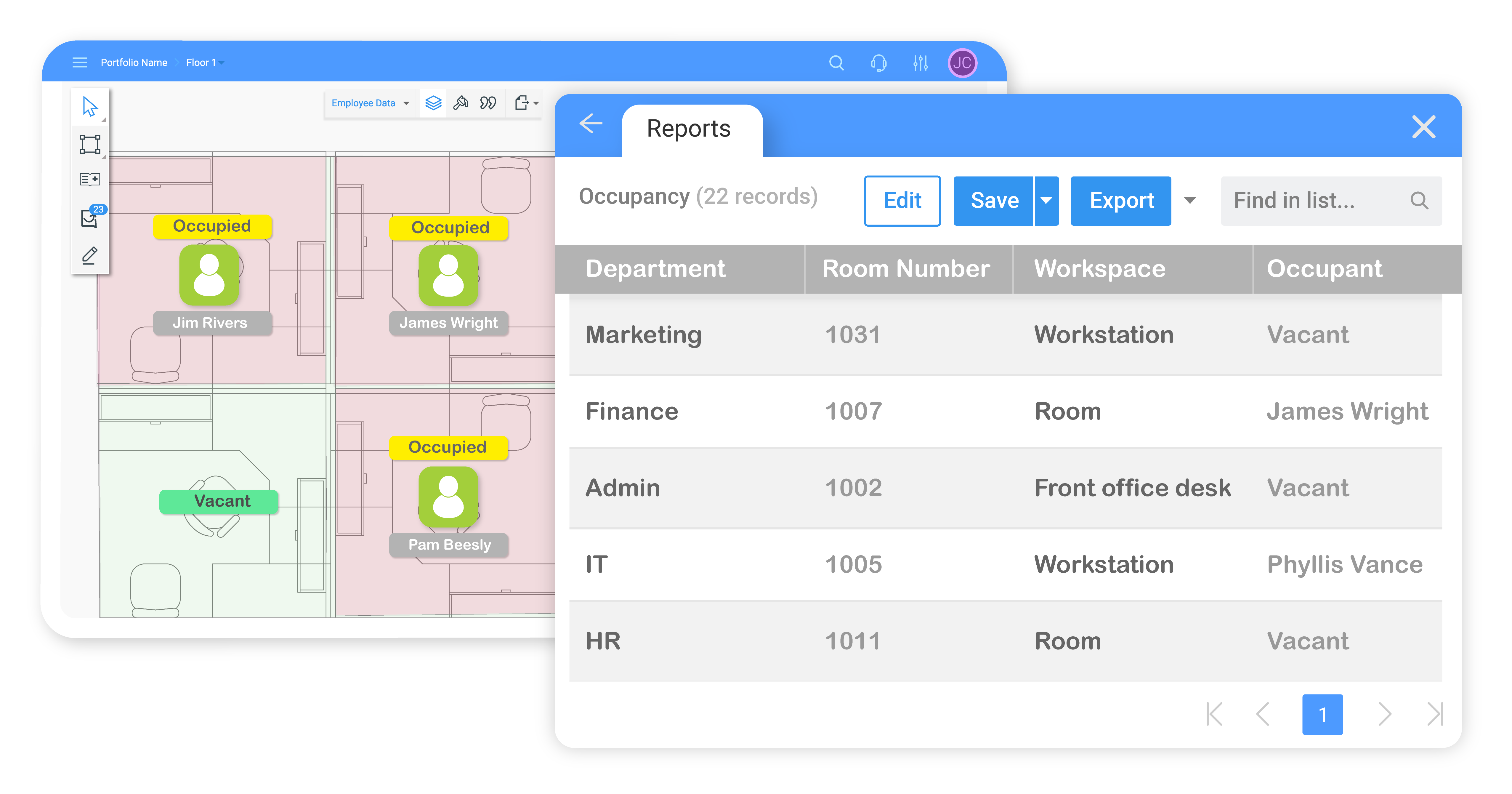 SpaceRunner Software - Robust reporting tools deliver summary grid data and customized floor plan layouts that can be exported to a PDF.