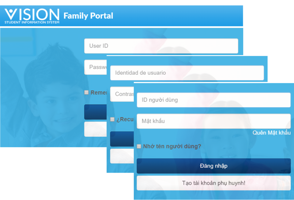 Vision SIS family portal screenshot
