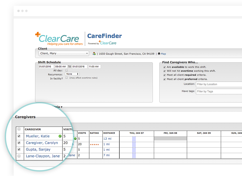 Access to the online caregiver portal offers shift details and the ability to consult care plans while in the field
