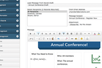AMO screenshot: Use the email builder to create templates and send newsletters to contacts