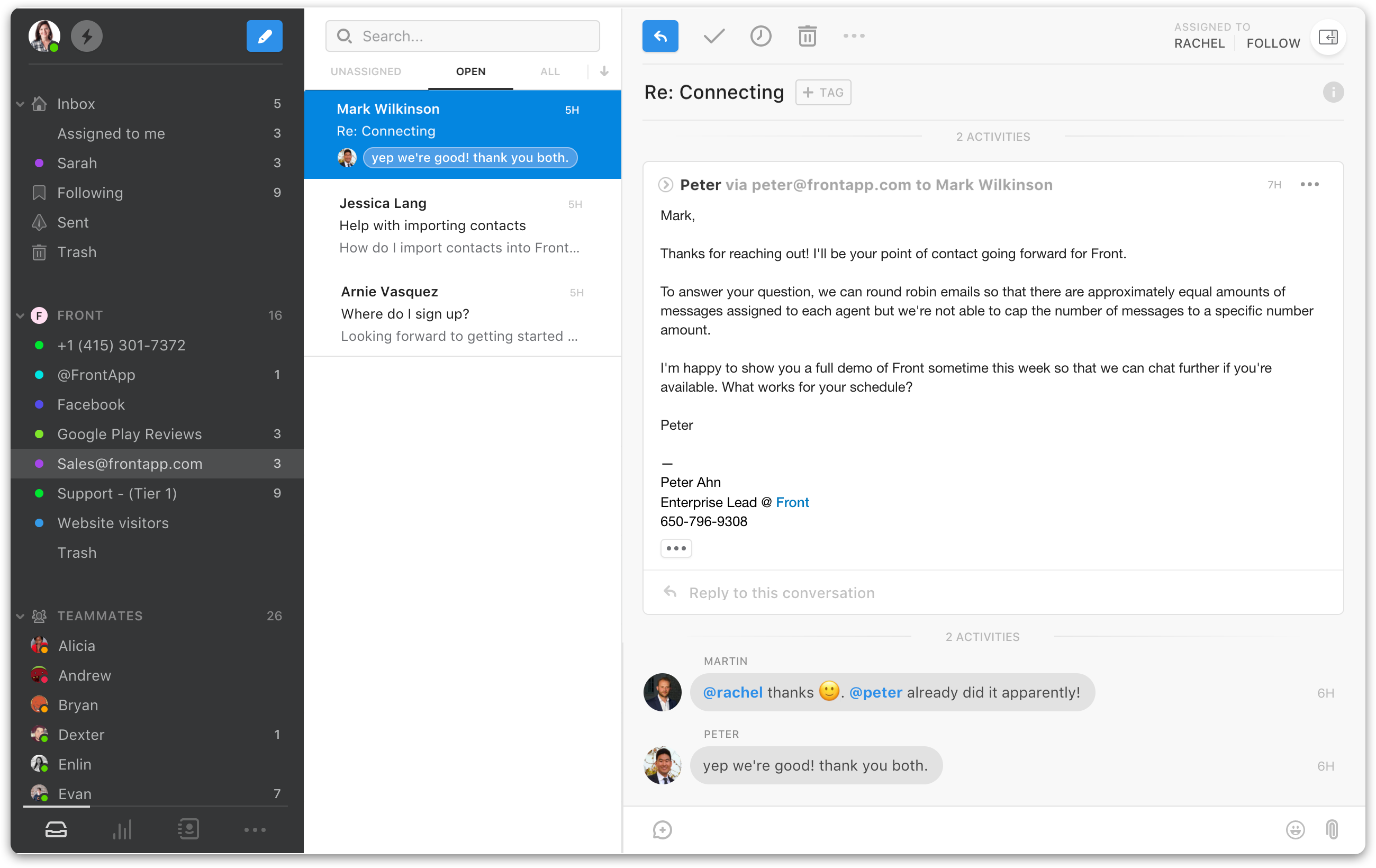 Front screenshot: Manage email, chat, social media, SMS in one place
