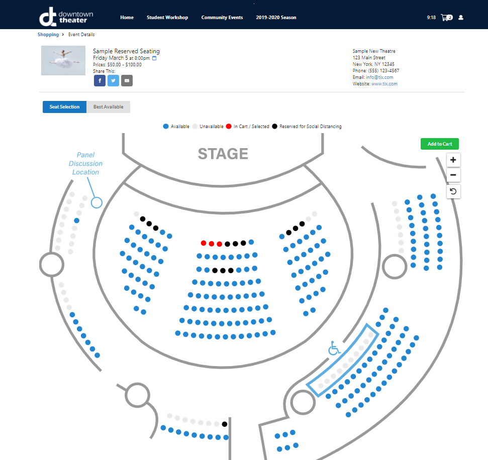 Tix social distance seating chart