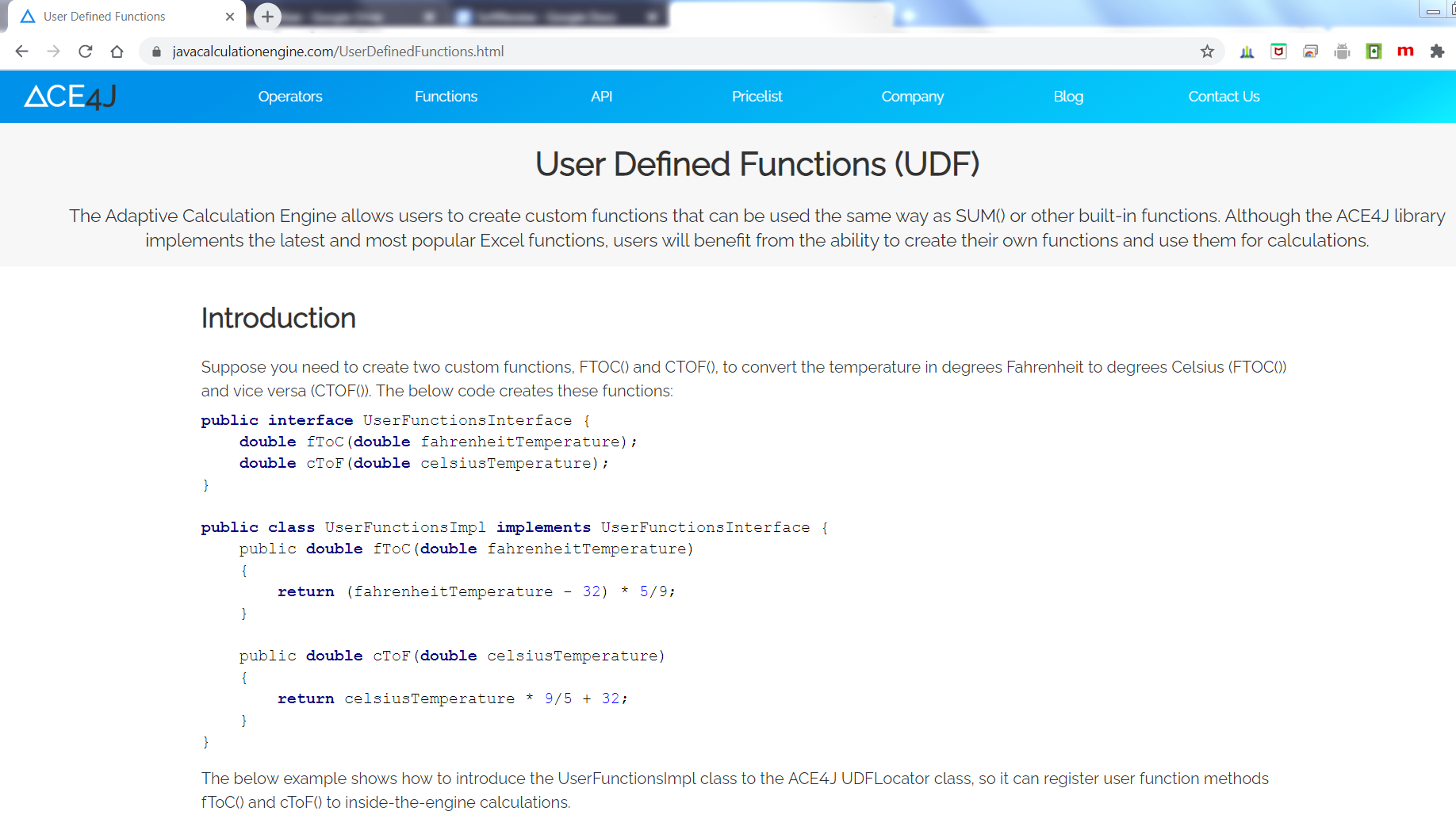 The ACE4J User Defined Functions (UDF)
