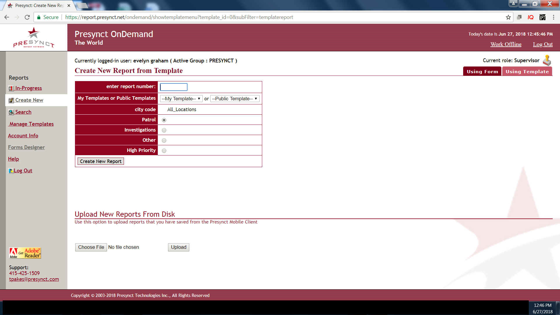 Presynct_OnDemand Software - Create report from template