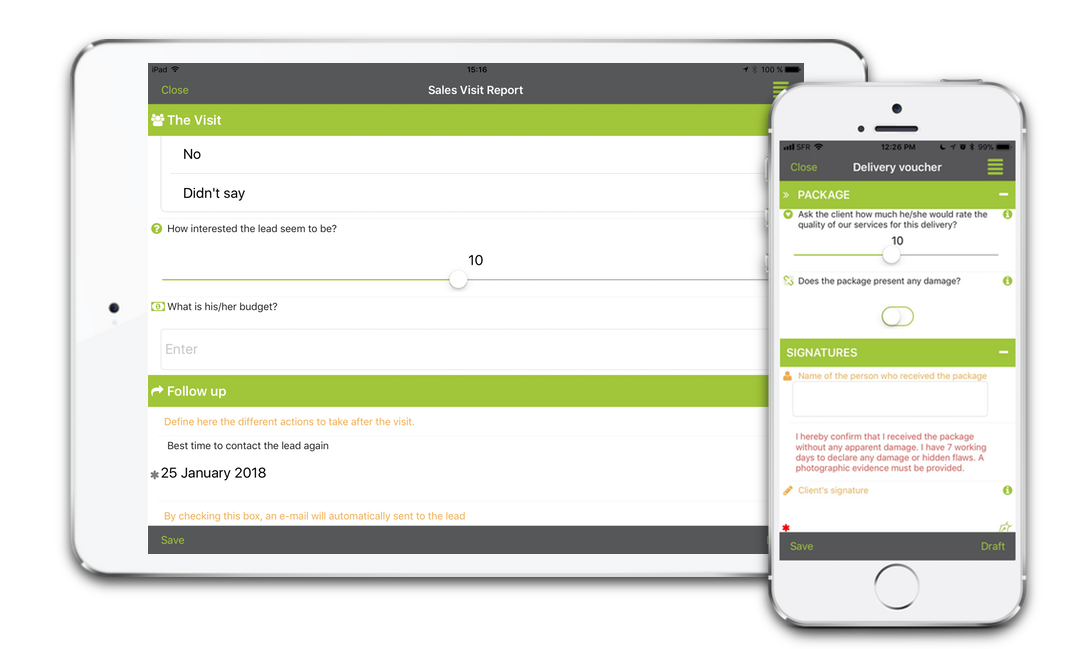 With the app, field users can fill out the digital form(s) from their smartphone or tablet online or offline