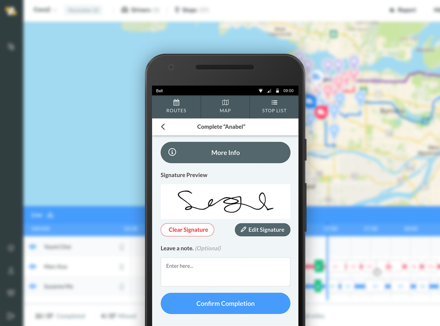 Deliveries can be verified with signature capture