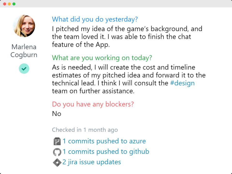 ScrumGenius screenshot: ScrumGenius view stand up answers