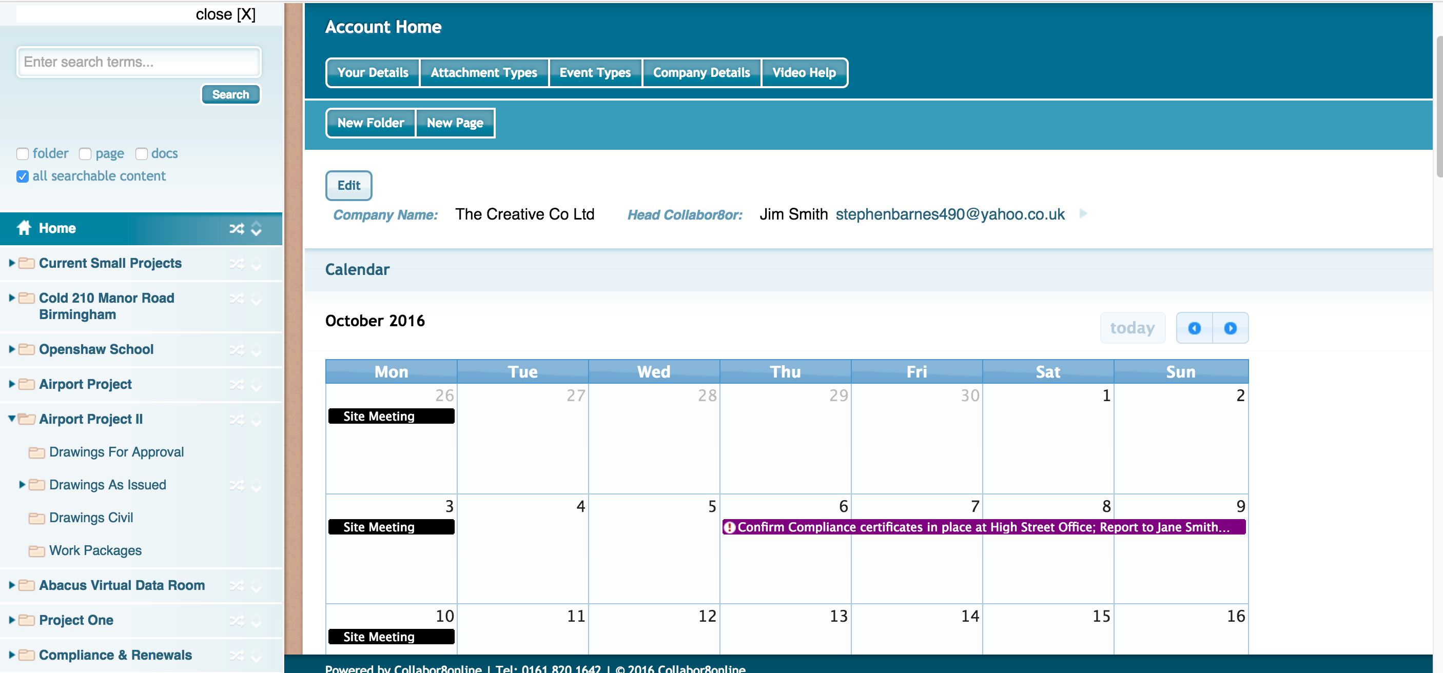 Collabor8online Software - Calendar