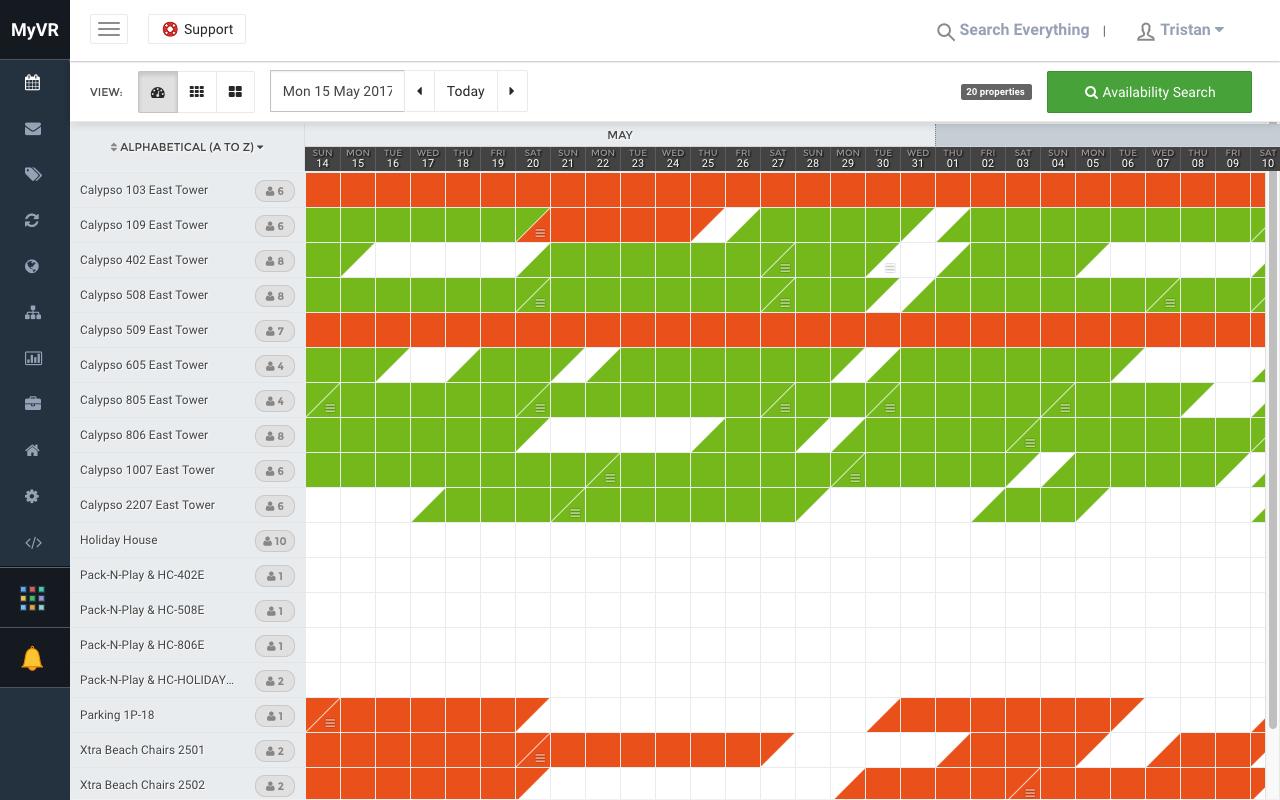 MyVR master calendar screenshot