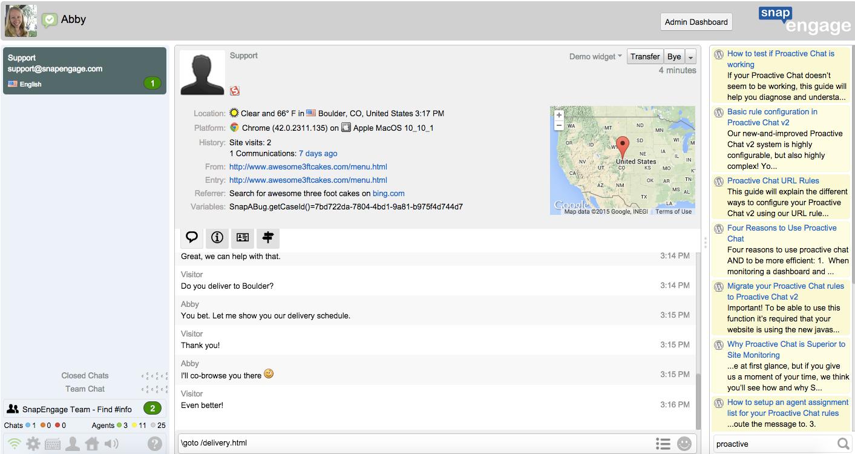 SnapEngage chat screenshot