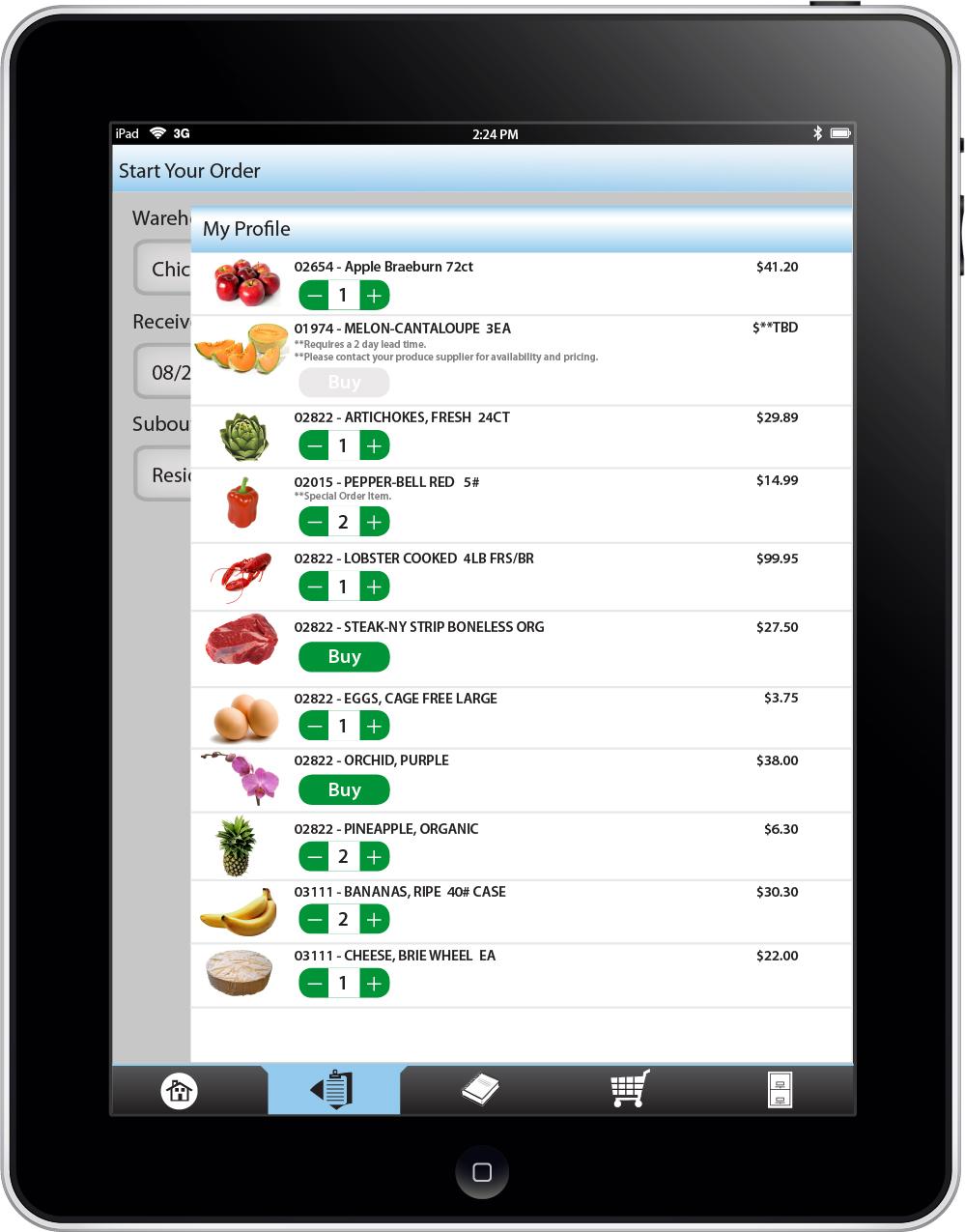 Display menu list