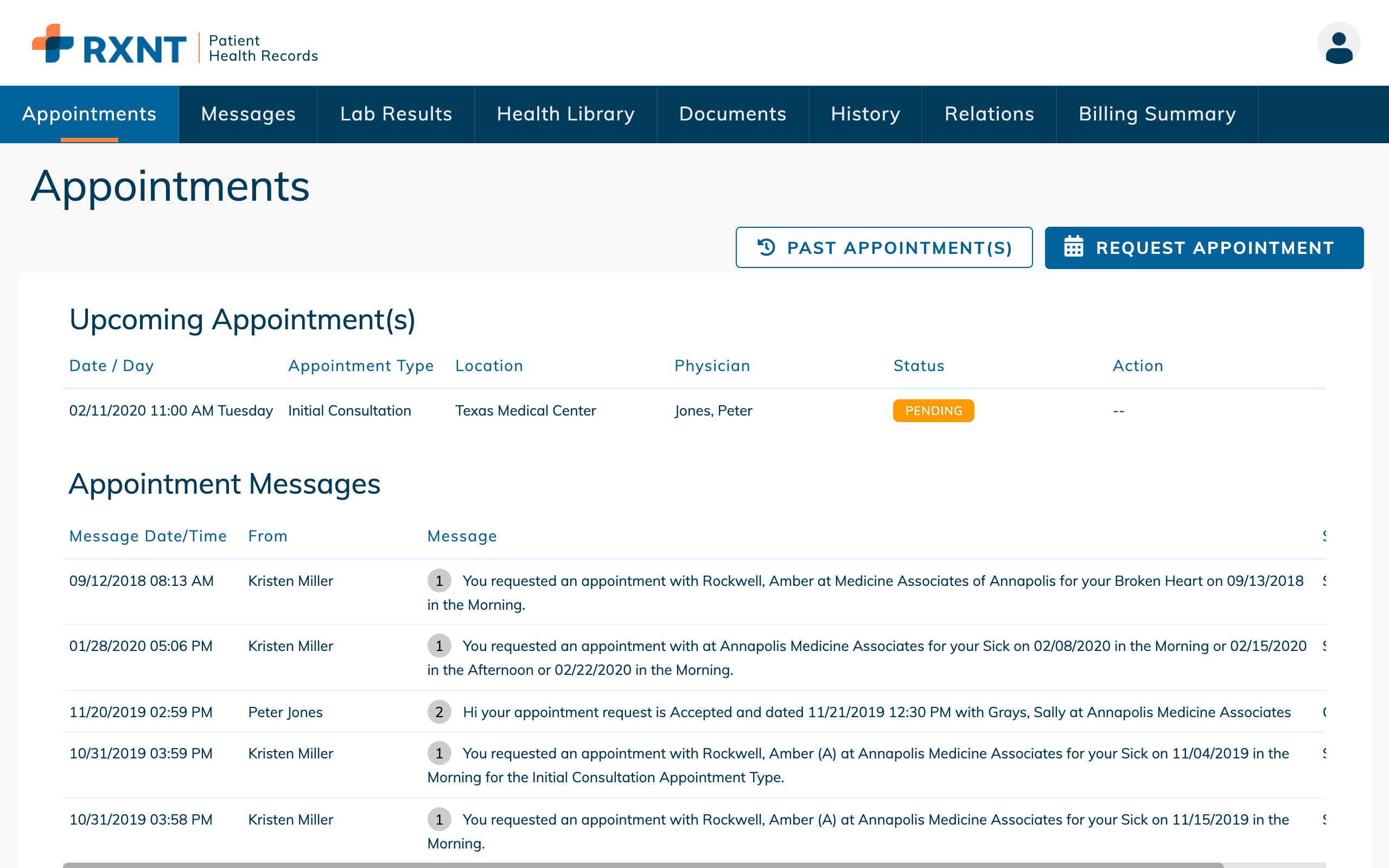 RXNT Electronic Health Records – PHR Appointments. Schedule and manage upcoming appointments and see past secure appointment messages.