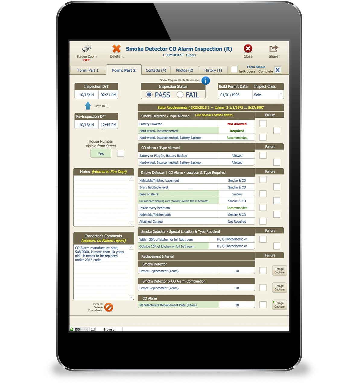 Inspections can be managed with StationSmarts's built-in checklists