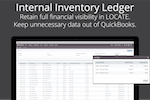 LOCATE screenshot: LOCATE's internal Inventory Ledger is they key to keeping unnecessary data out of QuickBooks without sacrificing financial visibility