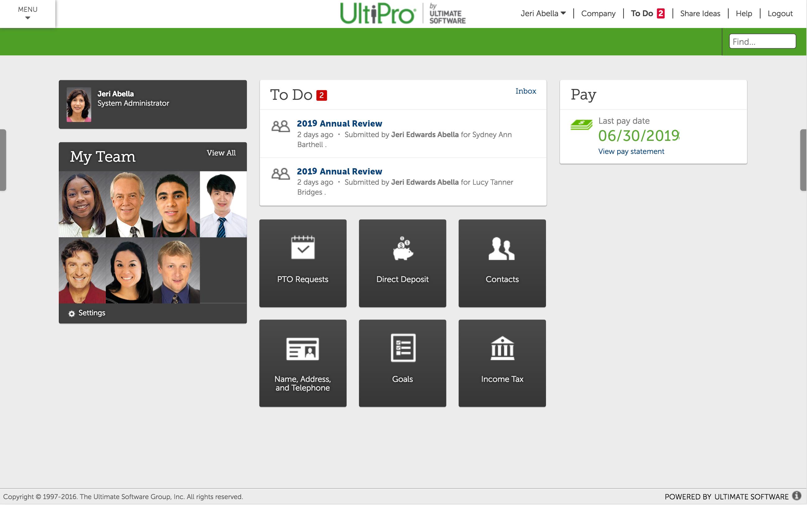 UltiPro Dashboard