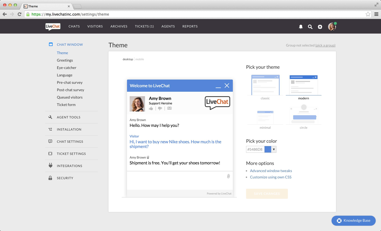 LiveChat customize chat windows screenshot