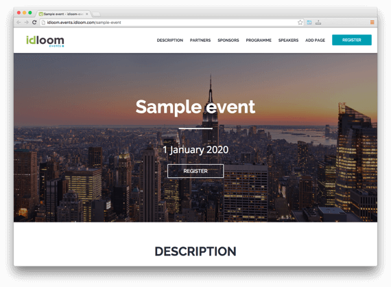 idloom-events screenshot: Sample event home page