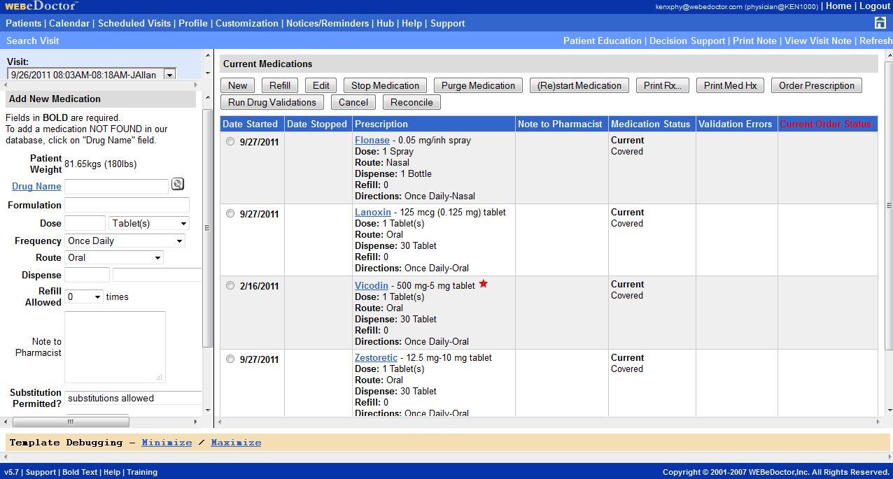 WEBeDoctor Software - WEBeDoctor's ePrescribing Module