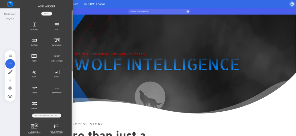 Funnel Wolf screenshot: Funnel Wolf adding widgets