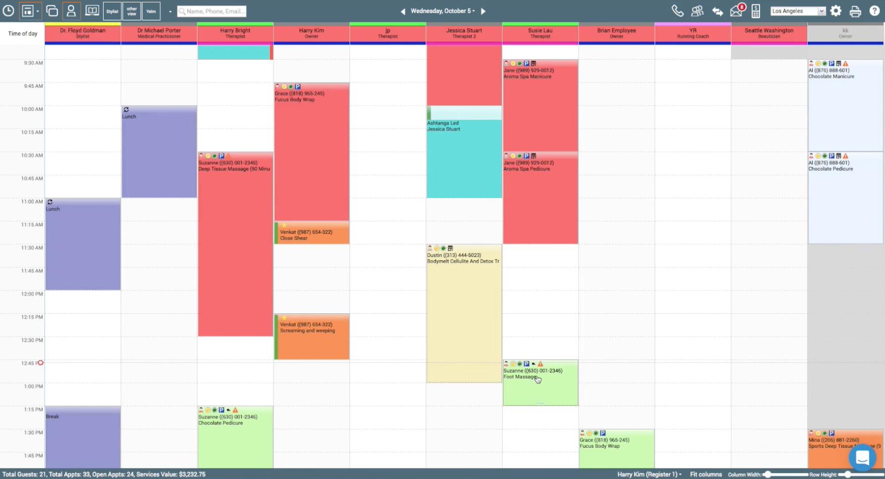 Zenoti calendar and scheduling