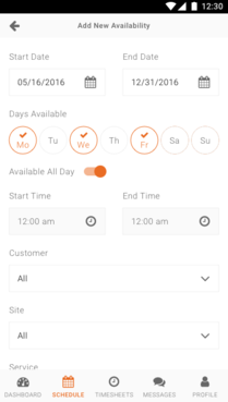 Celayix screenshot: Scheduling options on the mobile app include the ability to flag up availability with calendar-based controls