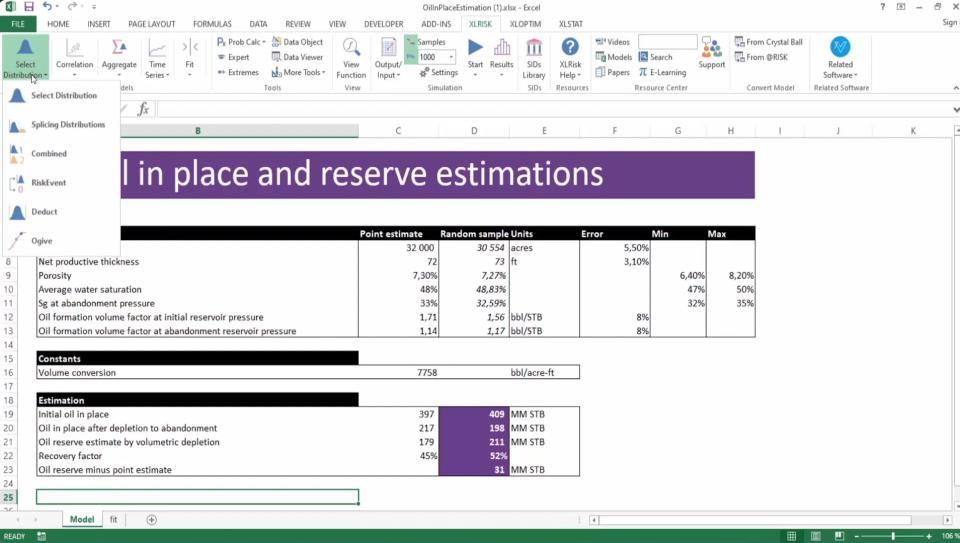XLRISK Excel add-in