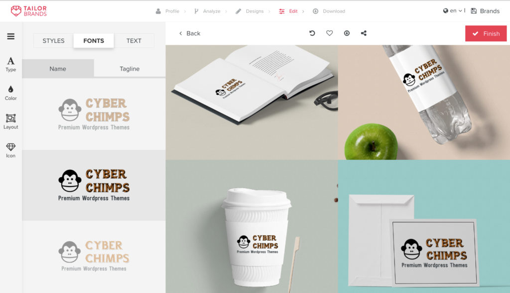 Tailor Brands custom designing screenshot