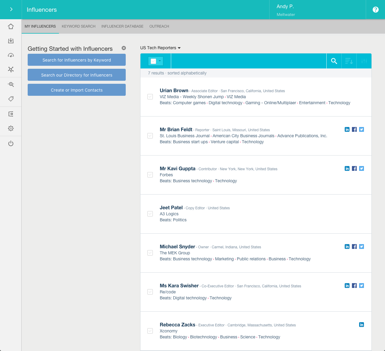 Create PR worthy press lists. Find relevant journalists who write on specific topics of interest to you, no matter how niche. Meltwater's innovative feature, Keyword Search, helps discover influencers based on the content of their recent articles.