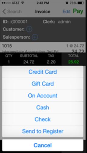 POS Retail POS payment processing screenshot