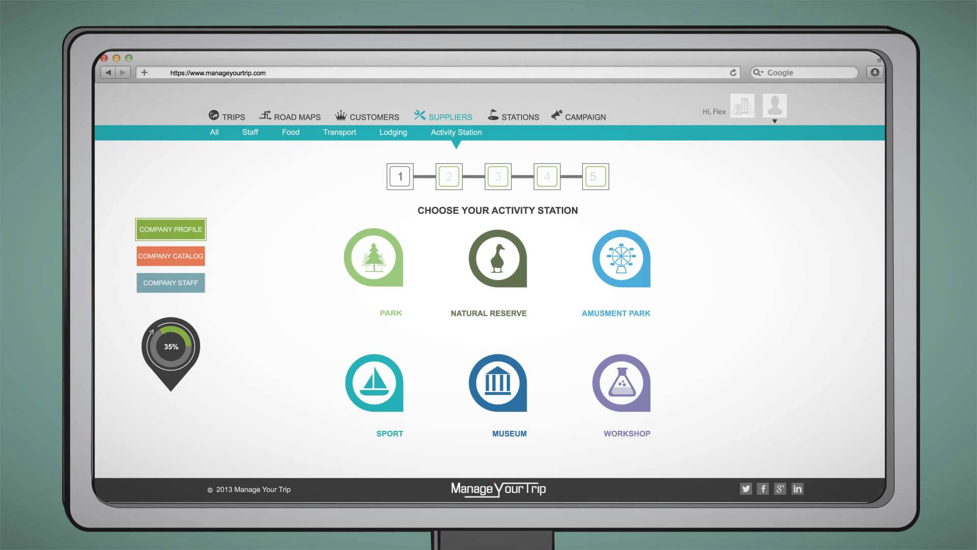MYT SaaS screenshot: Activity Station allows users to select the access and activity type