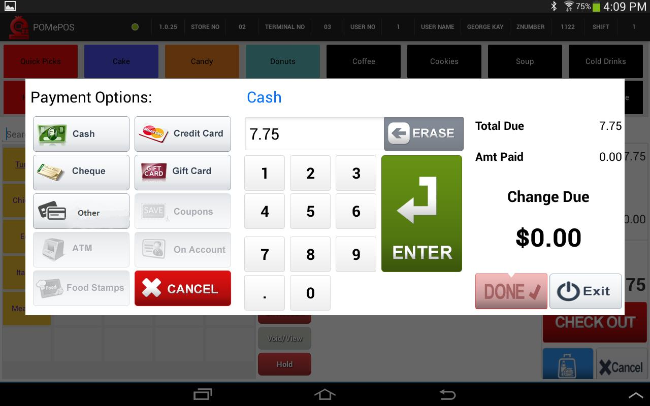 POMePOS Software - Payment screen