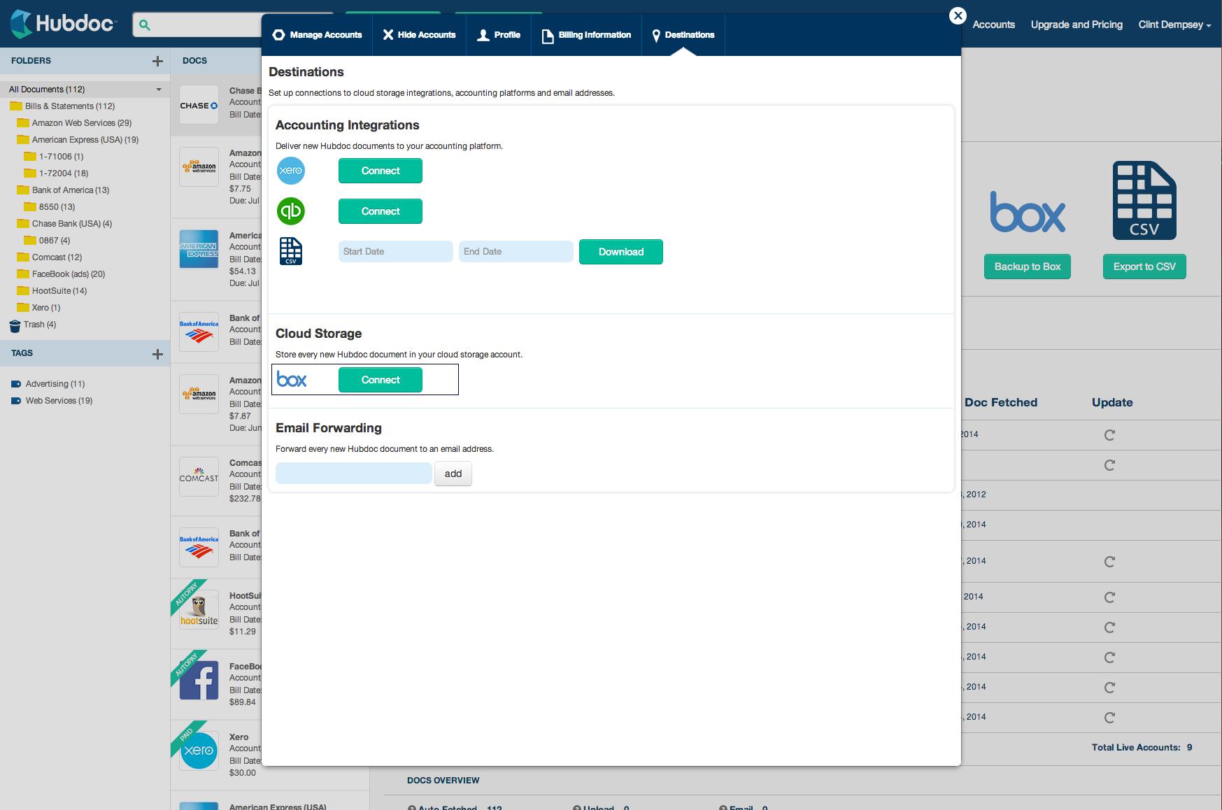 Hubdoc accounting integrations
