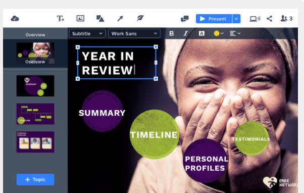 Create presentations using a single, intuitive interface