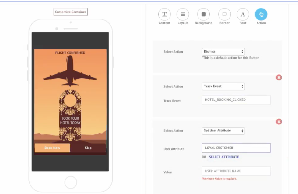 Users can utilize the in-app message designer to animate or customize messages, as well as add images