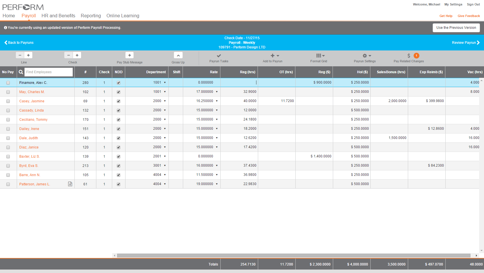 Payroll can be managed in Paycor
