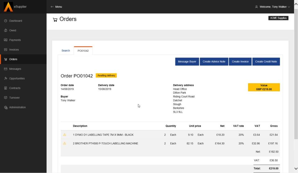 Cloud Financials Software - Orders