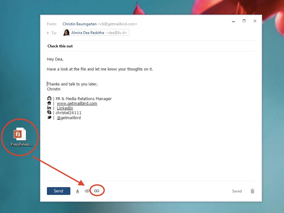 MailBird Software - Drag and drop