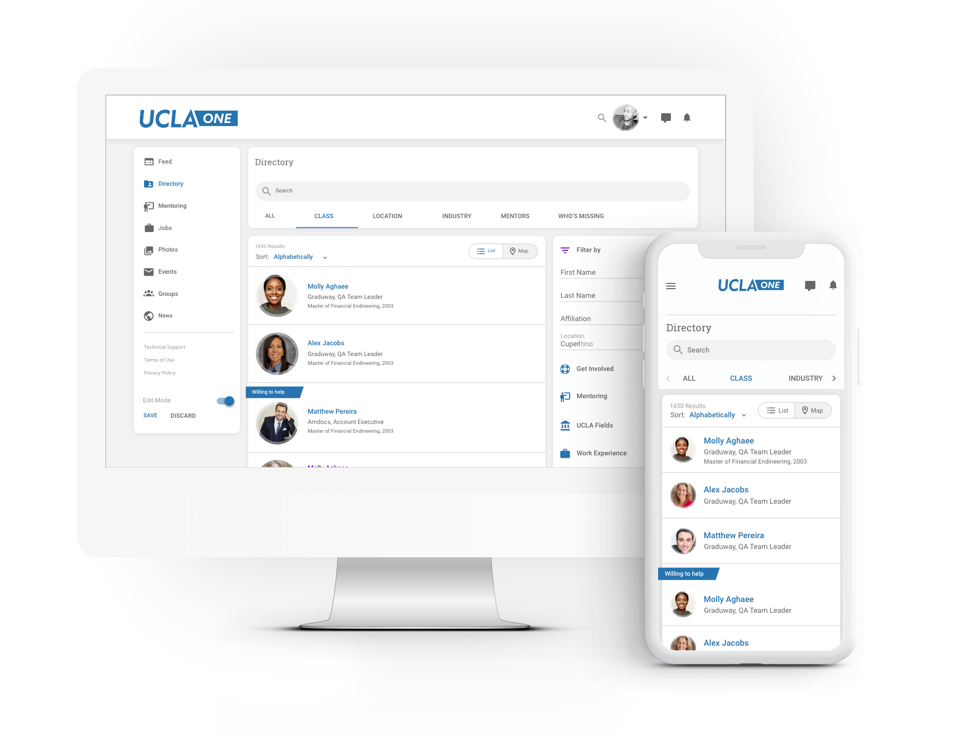 All your alumni in one place - whether looking to connect with an old classmate or looking for professional advice, the directory makes your network reachable at the click of a button.