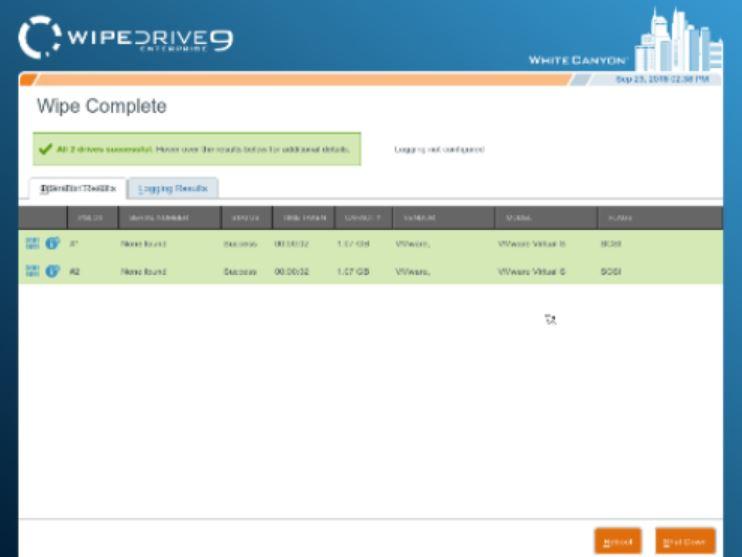 WipeDrive screenshot: WipeDrive wipe complete
