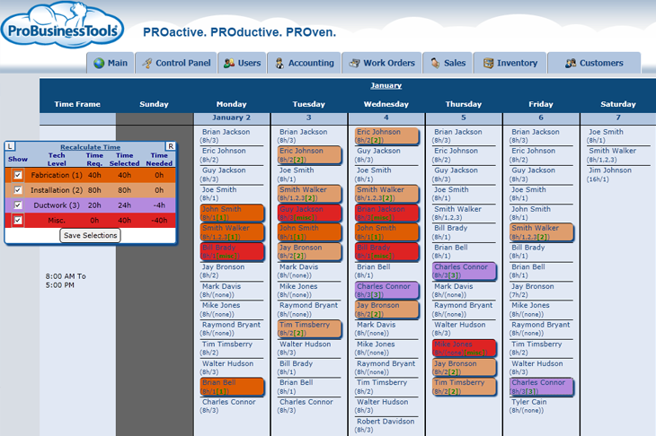 ProBusinessTools showing project calendar