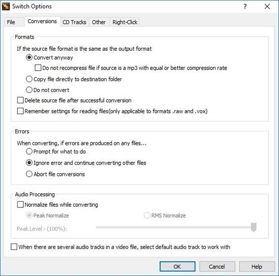 Switch Audio Converter conversion options