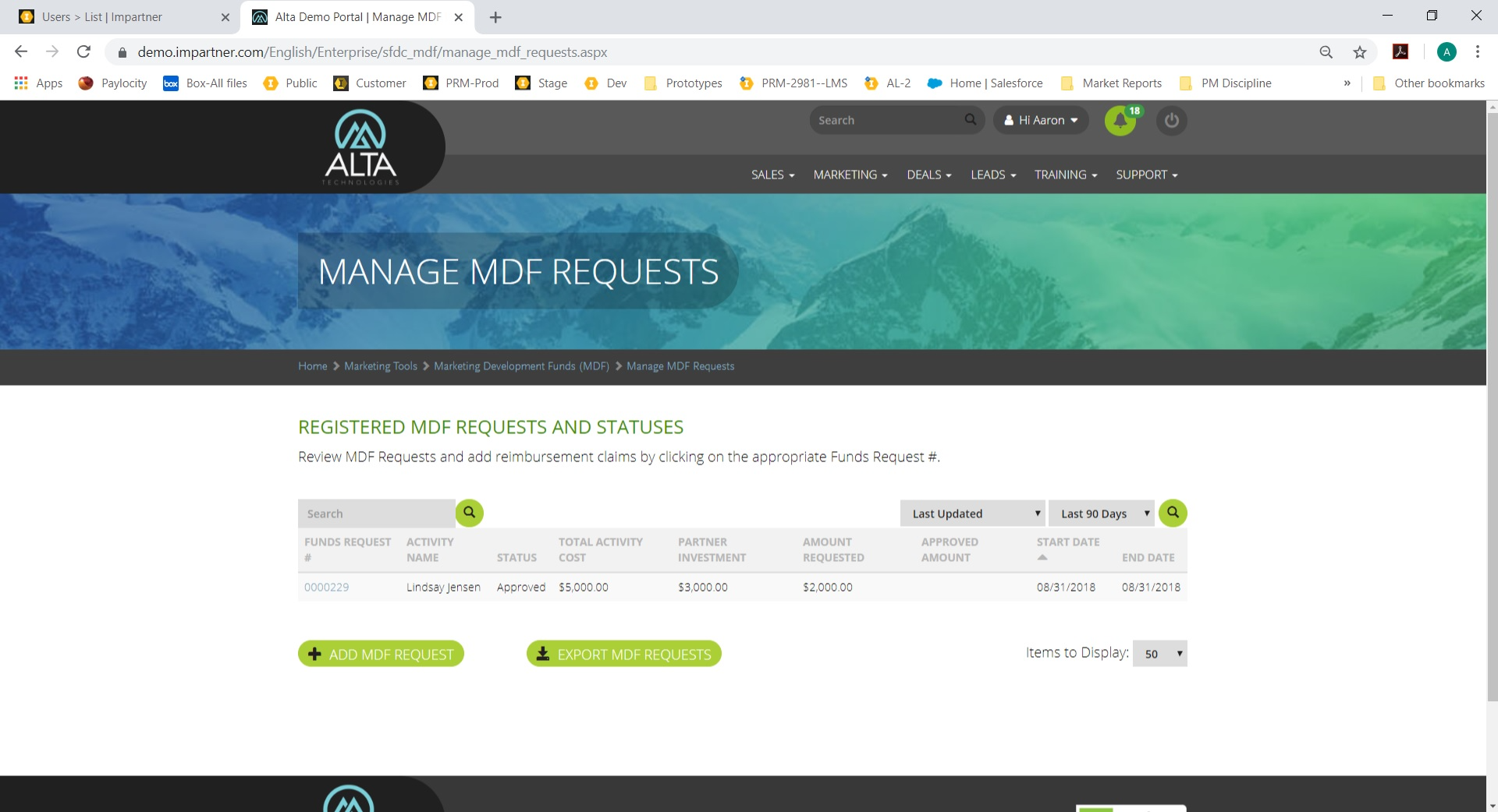 Impartner PRM MDF requests screenshot