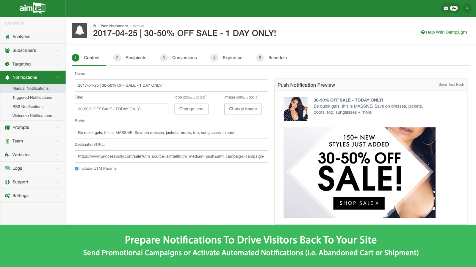Drive visitors back to the website with promotional push campaigns