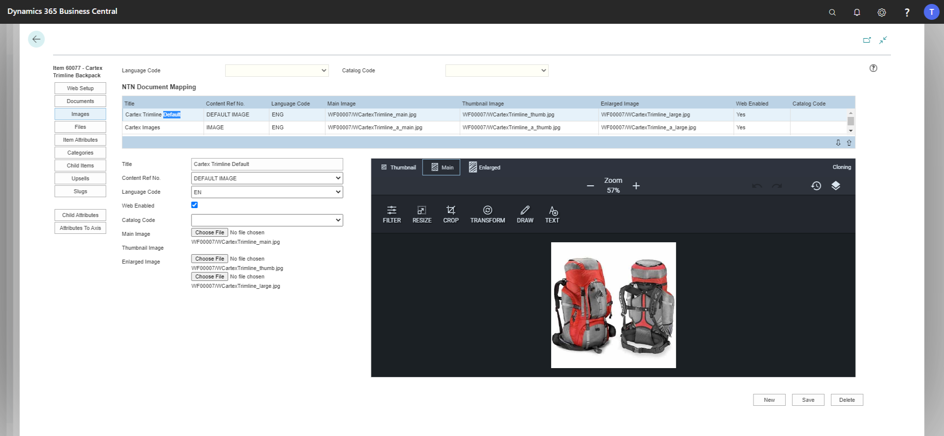 Dynamics-integrated CMS enables easy inclusion and manipulation of images, right in Business Central/NAV.