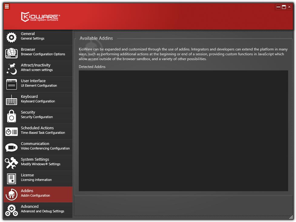 Kioware Kiosk Software addin configuration