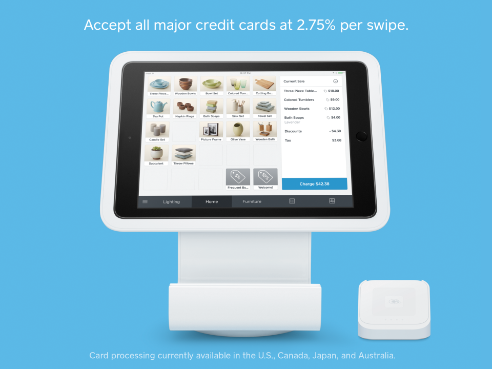 Accept credit card payments by integrating with Square card reader hardware and POS software