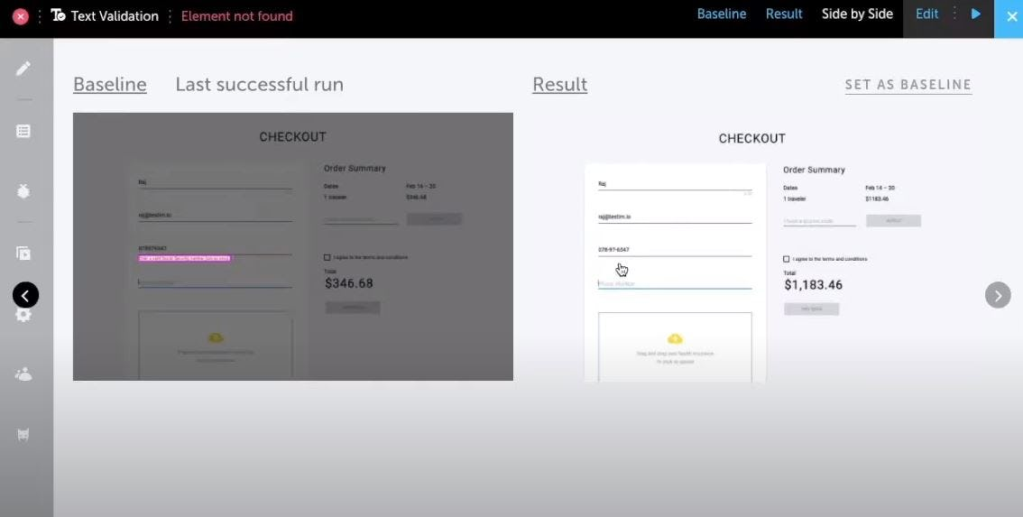 Testim Software - Testim text validation